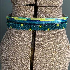 LOFT elastic sequined belt